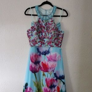 Floral Beaded Long Formal/Prom/Homecoming Dress